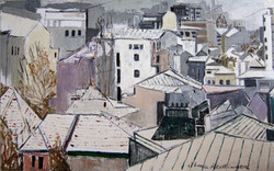 Bucharest seen from above, winter, 2013, oil/canvas, 50x80 cm