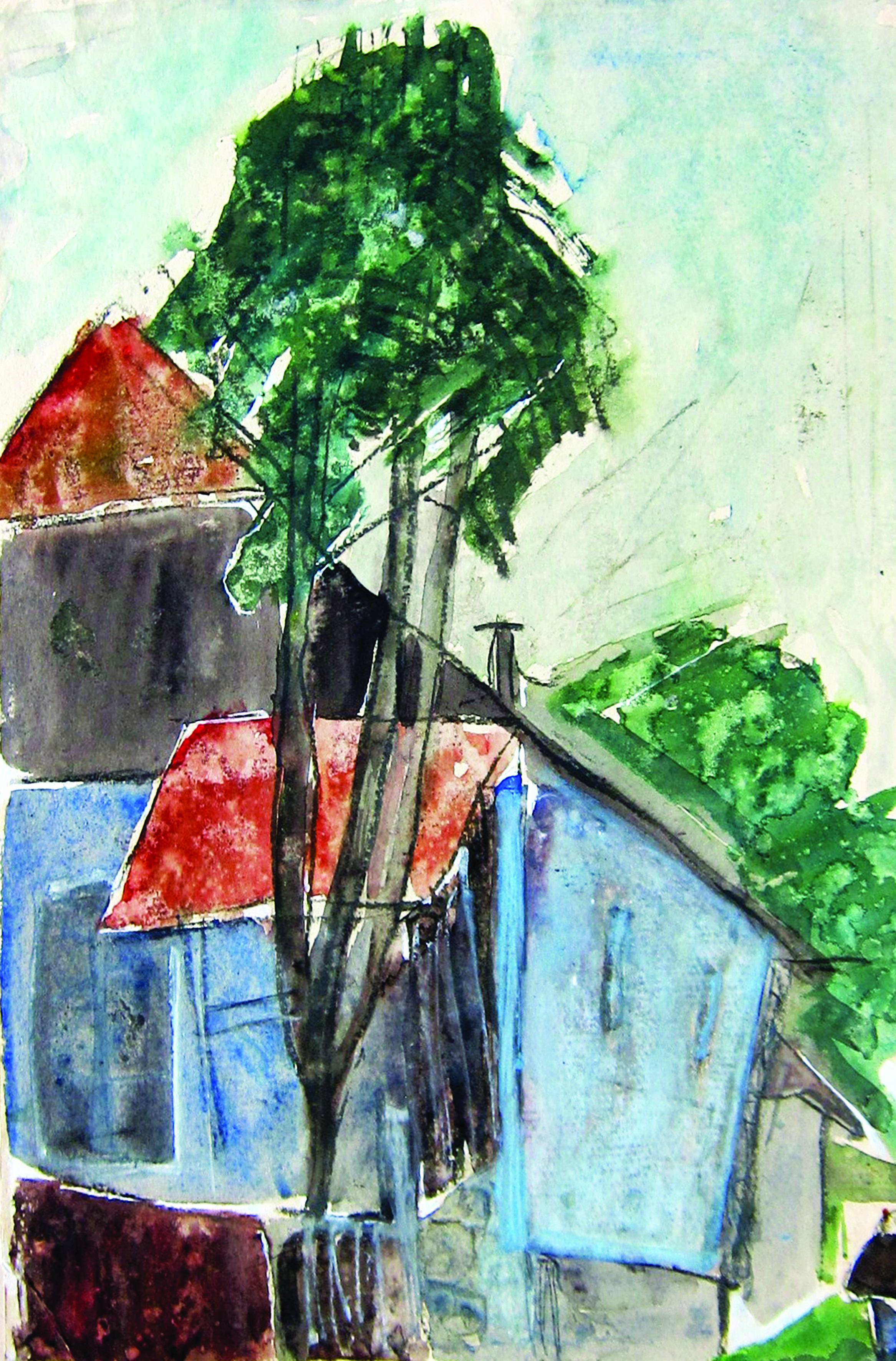 Tree with blue house, 1980, watercolor, 49X33 cm