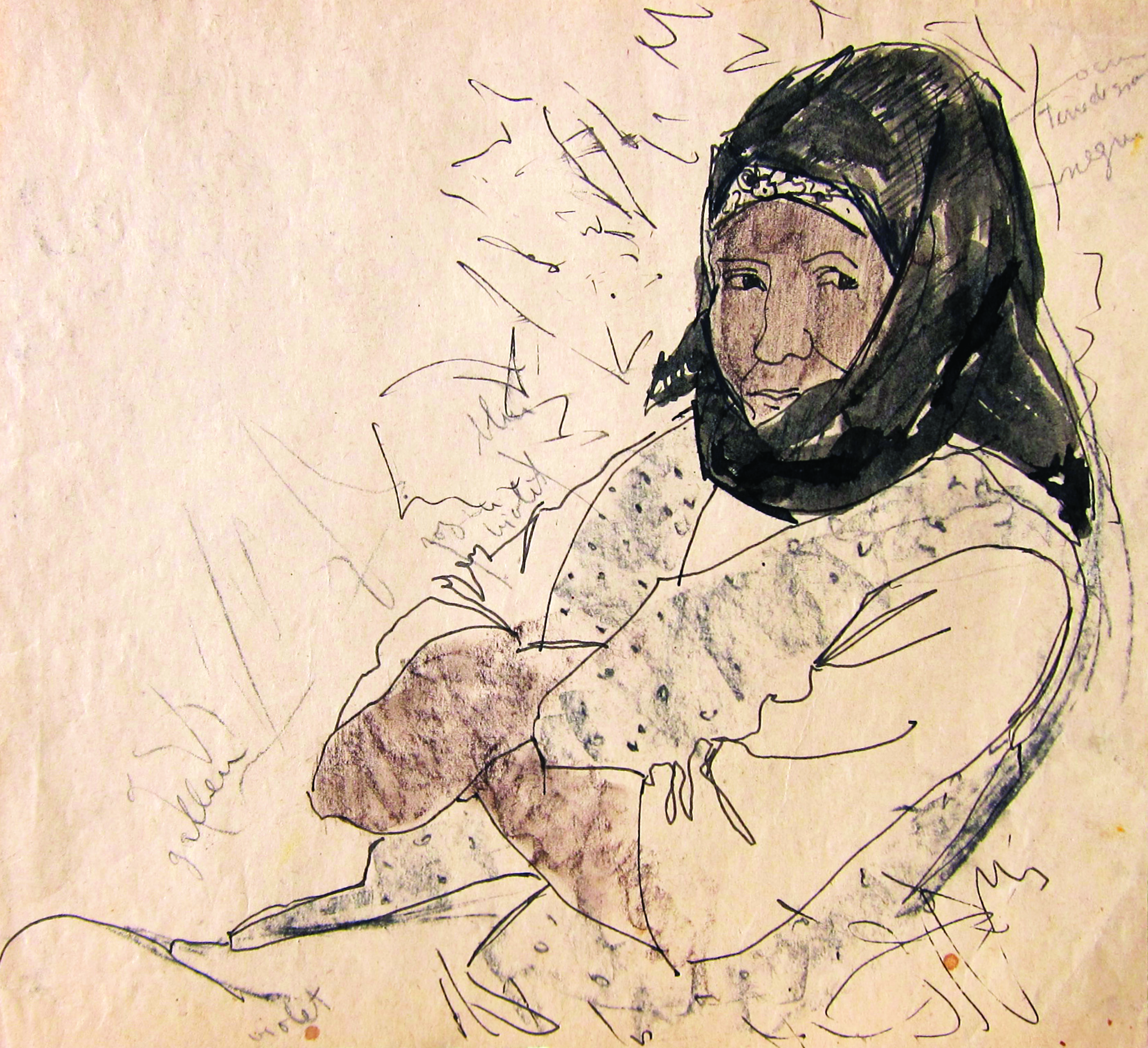 Woman with scarf, 1960, ink, pencil_ paper, 32X35 cm