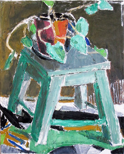 Green chair with leaves, 2015, oilcanvas, 50x40 cm