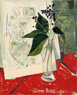 Green leaves with black beans, 2008, oil/canvas, 46x38 cm