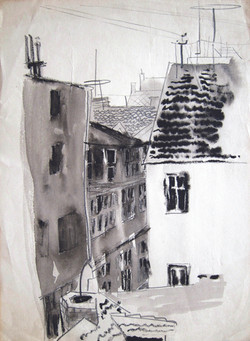 View from the window, Suceava, 1974, ink, 29X21 cm