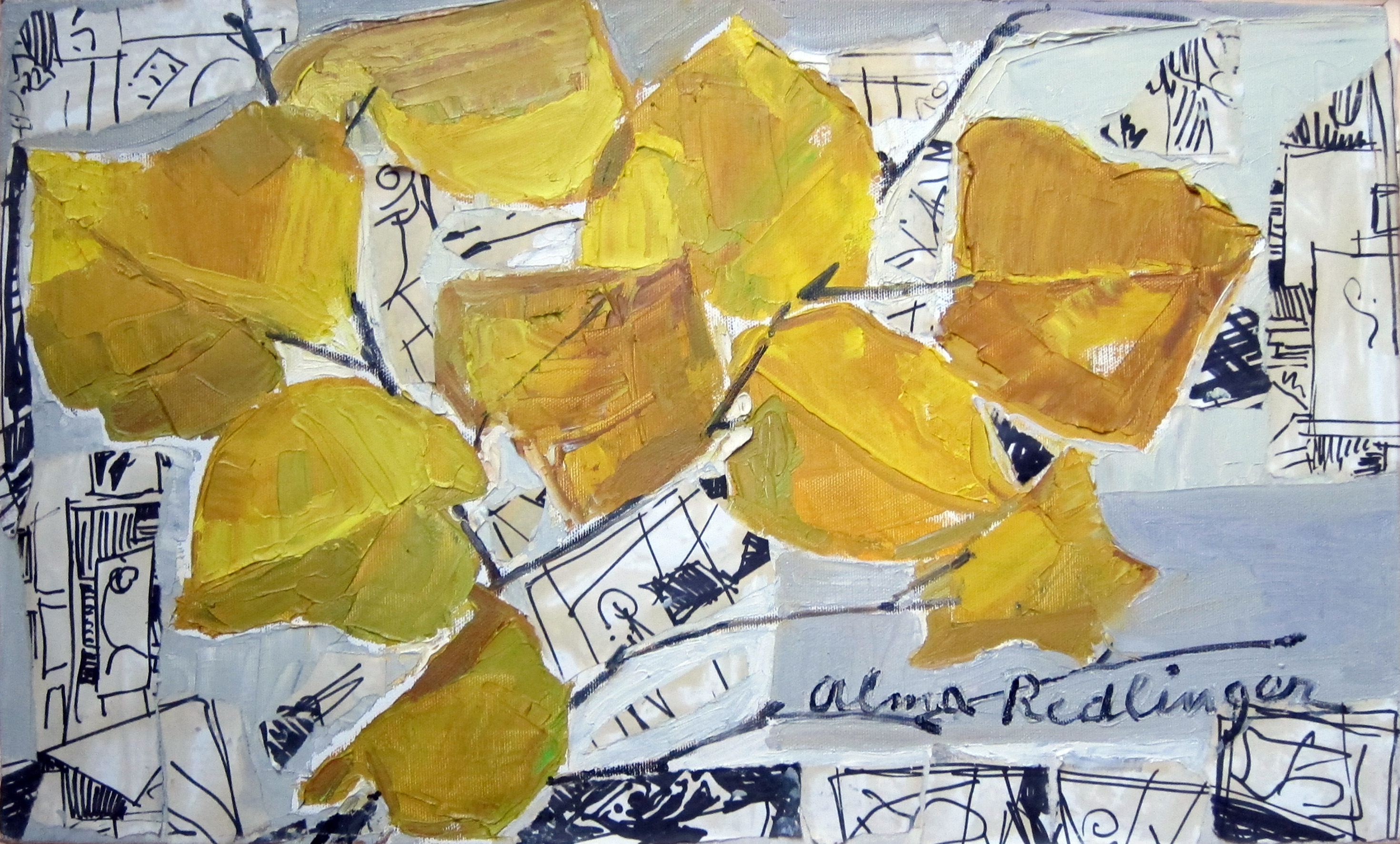 Yellow leaves on abstract background, 2009, oil_canvas, 30x50 cm
