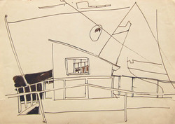 The cabin, 1967, ink_ paper, 25X35 cm