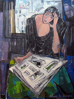 Reading in front of the window, 2013, oil/canvas