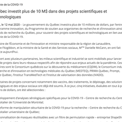 Quebec Invests more than 10M$ in Scientific and Technological Projects