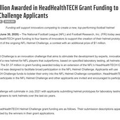 1.37 Million Awarded to NFL Helmet Challenge Applicants