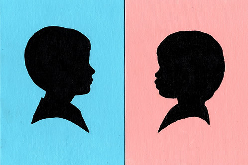 Two Color Background Individual Silhouette Paintings on Canvas
