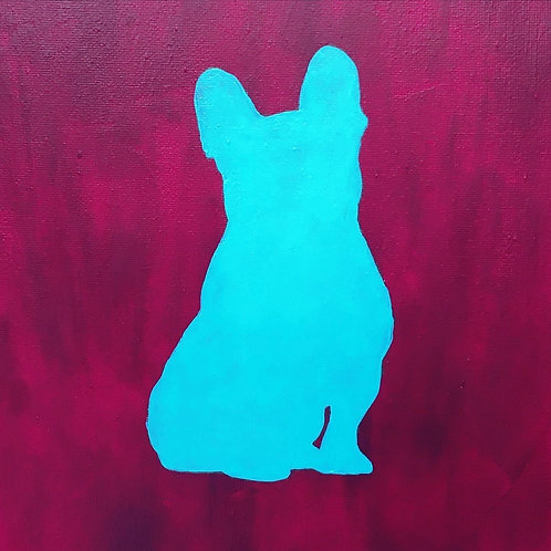 Custom Pet Silhouette Painting (with Background)