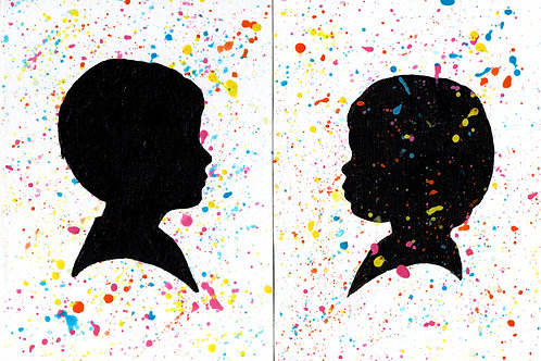 Two Confetti Background Individual Silhouette Paintings on Canvas