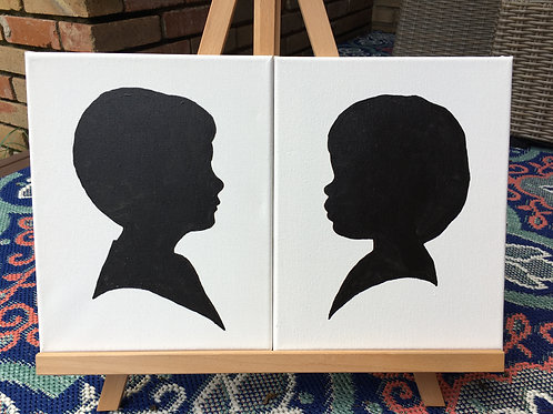 Two Individual Silhouette Paintings on Canvas