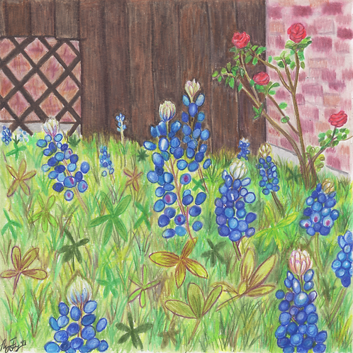 """Roses and Bluebonnets"" Print (10"" x 10"")"