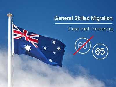 General Skilled Migration minimum points pass mark increasing