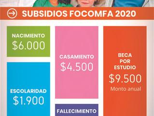 Nuevos valores Subsidios FOCOMFA 2020.