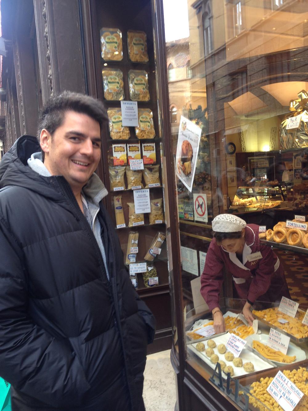 Giancarlo at an Italian market