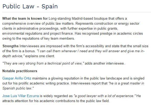 Ariño y Villar despacho de referencia en Derecho Público en Chambers Europe 2017