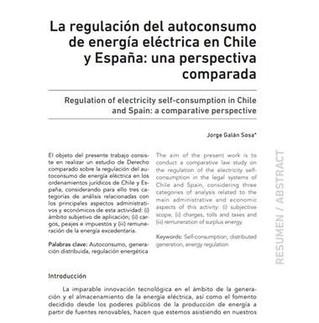 LA REGULACIÓN DEL AUTOCONSUMO DE ENERGÍA ELÉCTRICA EN CHILE Y ESPAÑA: UNA PERSPECTIVA COMPARADA
