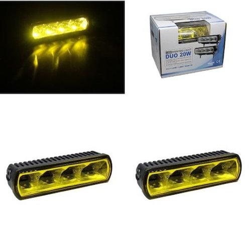 汎用 LEDライトバー イエローレンズ 2個セット 4LED・20w DUO20W