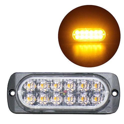LEDストロボライト 超薄型タイプ 【アンバー】 厚さわずか10mm! LED12個使用 点灯パターン16種類!