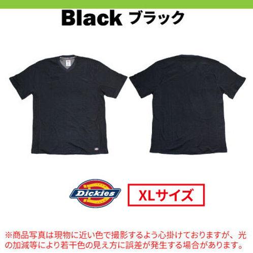 ディッキーズ 半袖Vネック メッシュTシャツ Dickies WS424 ブラック XLサイズ