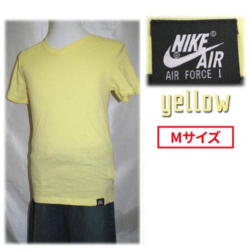 【アウトレット】NIKE ナイキ 464829 AIR FORCE1 VネックTシャツ 半袖 エアフォース1 タグ付きTシャツ イエロー Mサイズ