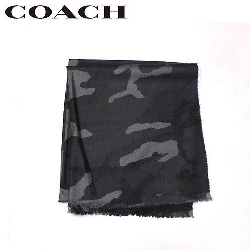 【アウトレット】COACH/コーチ ライトウエイト カモフラージュ スカーフ グレー