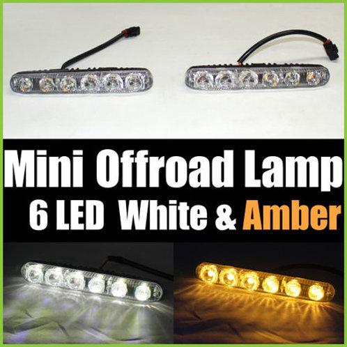 汎用 ミニオフロードランプ LED 6連 ホワイト & アンバー 2個セット