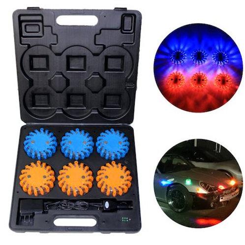 LED警告ランプ 6個セット  ブルー3個、オレンジ3個
