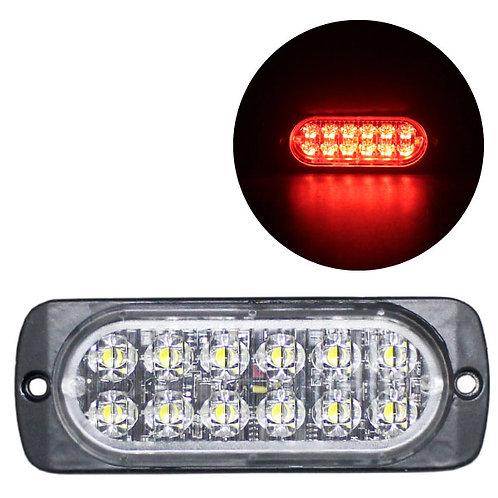 LEDストロボライト 超薄型タイプ 【レッド】 厚さわずか10mm! LED12個使用 点灯パターン16種類!