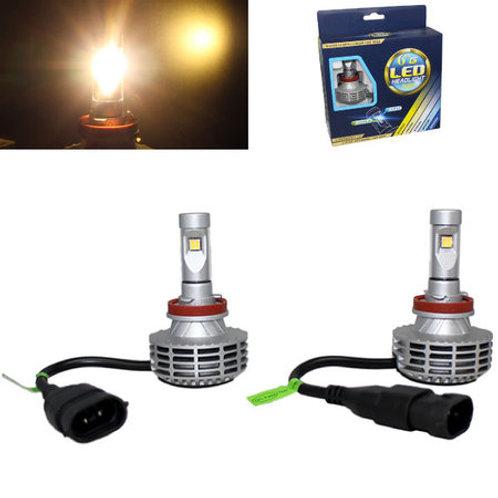 ★電球色★ LEDヘッドライト H8 ファンレス一体型 12v/24v 3000Lm