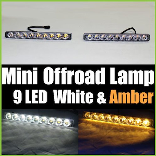 汎用 ミニオフロードランプ LED 9連 ホワイト & アンバー 2個セット