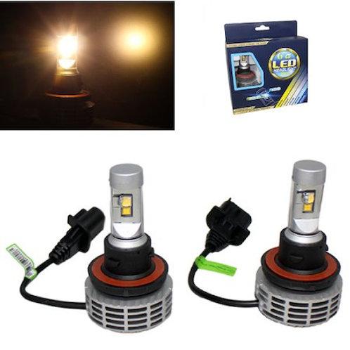 ★電球色★ LEDヘッドライト H13 ファンレス一体型 12v/24v 3000Lm