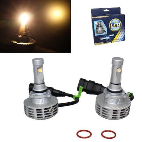 ★電球色★ LEDヘッドライト HB4 ファンレス一体型 12v/24v 3000Lm