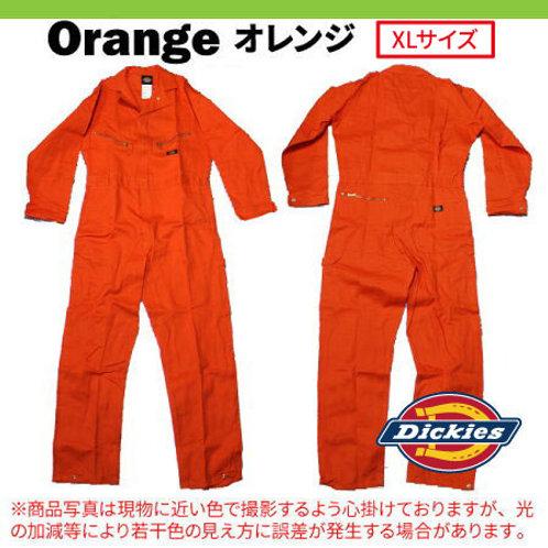 アウトレット 大人気 Dickies ディッキーズ 長袖 つなぎ 4870 オレンジ XLサイズ 作業着