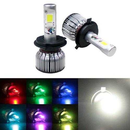 ★RGB★ LEDヘッドライト H4 Hi/Lo 冷却ファン一体型 9~30V対応