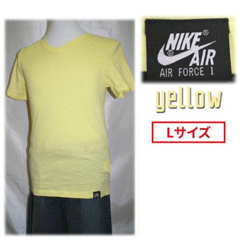 【アウトレット】NIKE ナイキ 464829 AIR FORCE1 VネックTシャツ 半袖 エアフォース1 タグ付きTシャツ  イエロー Lサイズ