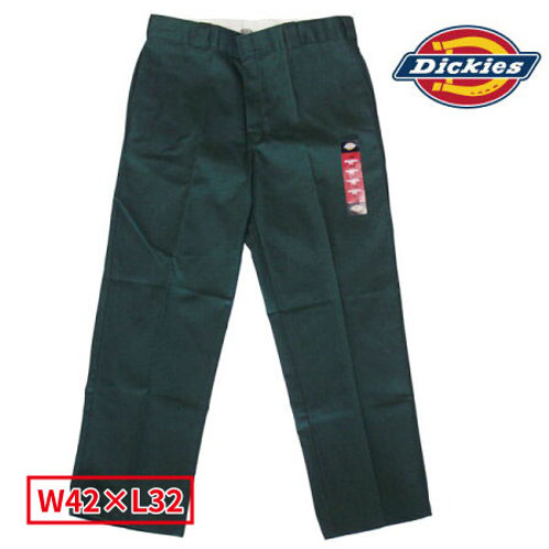 Dickies WP874 GH(ハンターグリーン) ディッキーズ ワークパンツ フラットフロント W42×L32