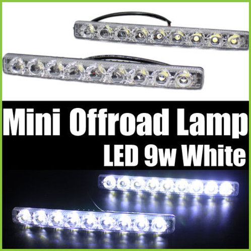 汎用 ミニオフロードランプ LED 9連 ホワイト 2個セット