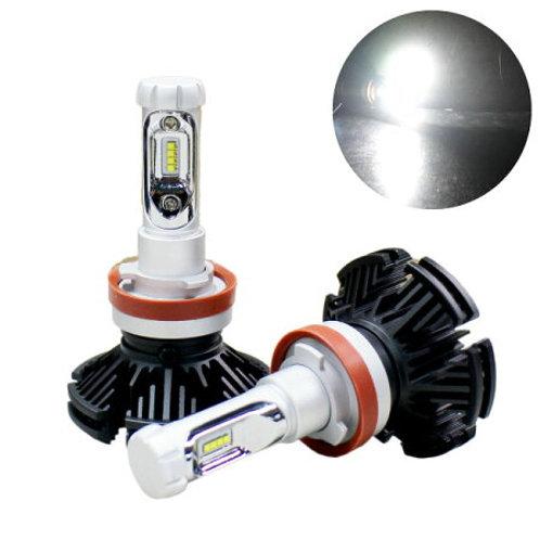 ★フィルム付色が変えられる★ LEDヘッドライト H8 ファンレスタイプ 9~32V対応 6000lm 3000~8000K