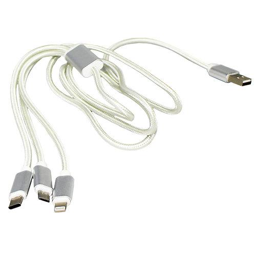 3 in1 USB 充電ケーブル iPhone、Androidスマホ、どちらにも使える!