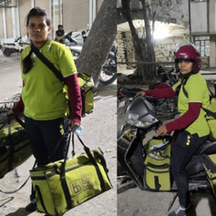 our benefeciary Madhumita working as delivery partner with an online grocery company