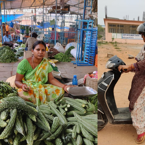 vegetable vendor Uma receiving 2 wheeler training