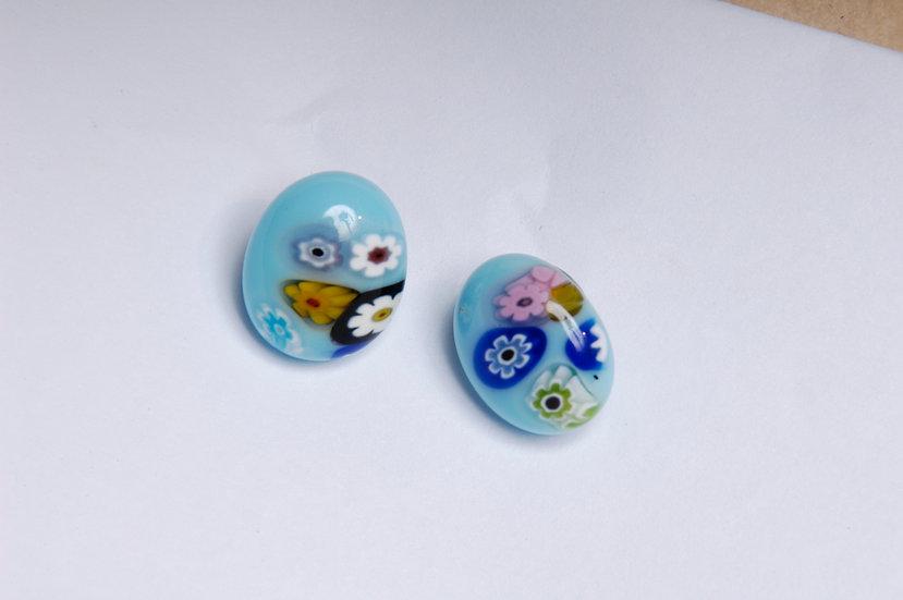 Post Style Murano Millefiori Glass Earrings