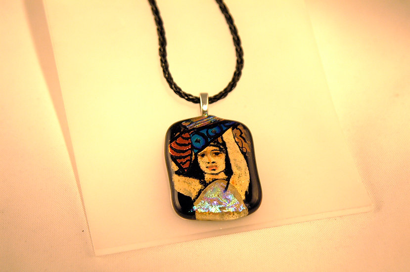 Silver Dichroic Glass HandPainted Necklace