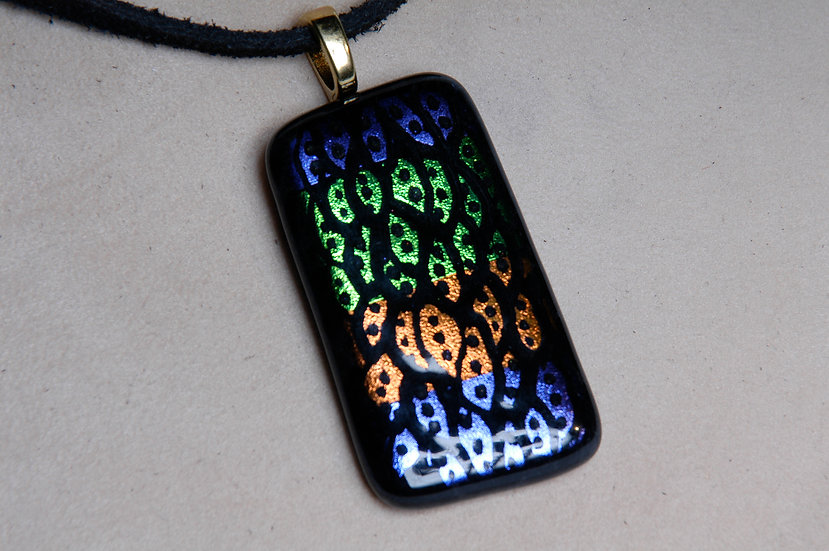 Gold Tone Dichroic Glass Necklace