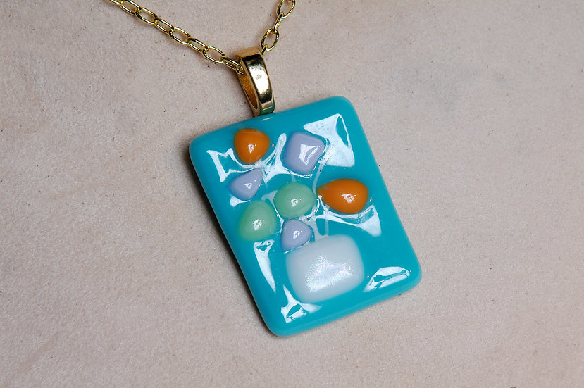 Gold Tone Fused Glass Necklace