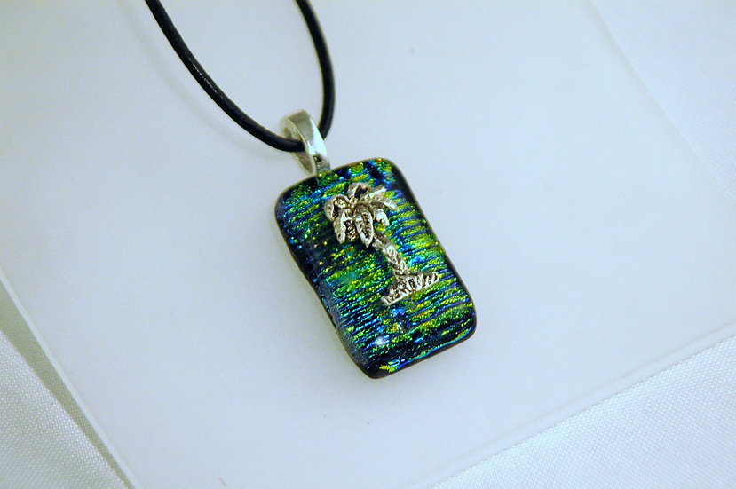 Fused Glass Dichroic Pendant with Silver Palm Tree