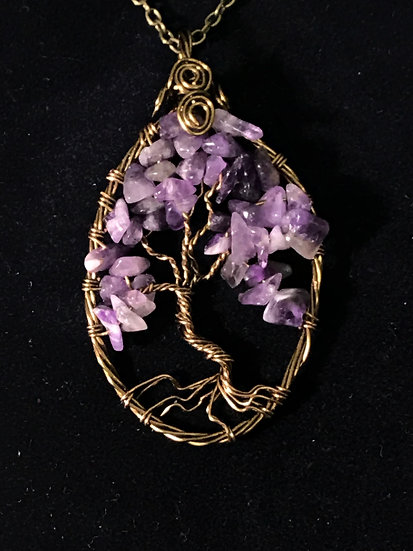 Amethyst Stone Chips Wrapped in Antique Brass wire
