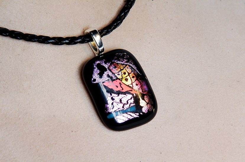 Silver Dichroic Glass Necklace