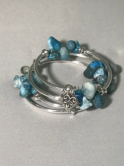 Silver Plated Wrapped Bracelet w/Turquoise Stone Nuggets